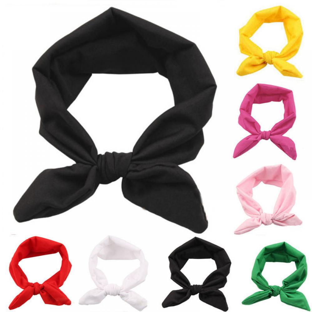 1 PC Elastic Stretch Plain Rabbit Bow Style Hair Band Cute Girls Headband Turban Children Hairband   Headwear   Hair accessories