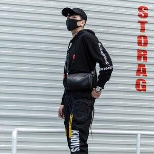 Image 4 - Nuova Moda di Strada di Tendenza Punk Completa Del Nero Del Manicotto Nastri Degli Uomini Con Cappuccio Felpe Con Cappuccio Hip Hop Autunno Allentato Maschio Felpe Streetwear