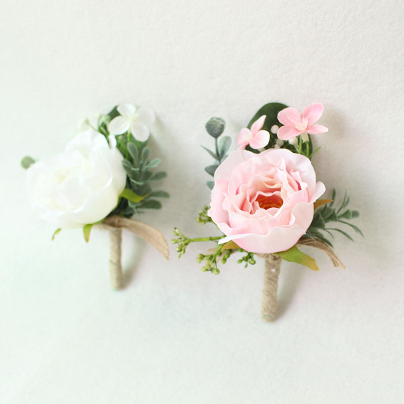 white pink roses Wedding Marriage Rose Wrist Corsage boutonnieres  (28)