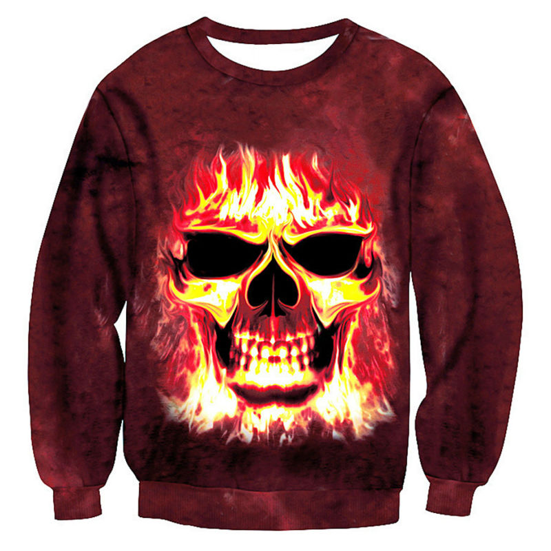 2018 Tie Dye Fire Skull 3D Novelty Mens Hoodies Sweatshirts Funny Hoody For Unisex Sweat Skeleton Tide Clothes Plus Size 5XL