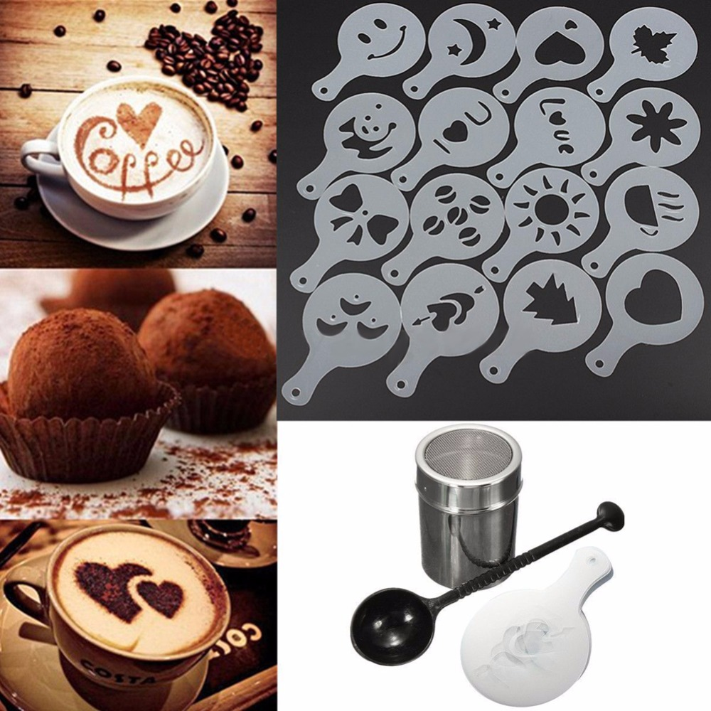 Stainless Steel Chocolate Shaker Duster + 16 pcs Cappuccino Coffee Stensil + Alat Ukur Sendok Kopi Teh