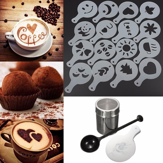 Stainless Steel Chocolate Shaker Duster + 16pcs Cappuccino Coffee Stencils + Measure Spoon Coffee Tea Tools