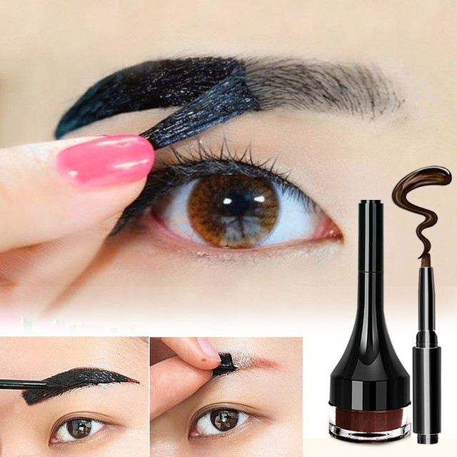1pcs Eyebrow Gel Pencil Makeup Waterproof Lock Color Cream 2 Colors Eyebrow Tint Brown 3D Natural Eyebrow Pen With Brush 2
