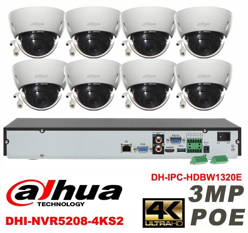 Dahua original 8CH 3MP H2.64 DH-IPC-HDBW1320E 8pcs Dome CCTV IP network camera POE DAHUA DHI-NVR5208-4KS2 security camera kit видеокамера ip dahua dh ipc hdbw2220rp zs 2 7 12мм 1 2 8 1984x1225