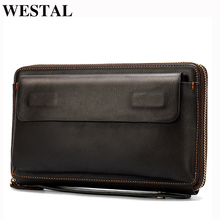 WESTAL Men's Wristlets Genuine Leather Clutch Bags Zip Knucklebox Fashion Evening Bags Large Capacity Wristlets with handle 9043