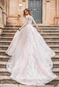 Image 2 - Robe De mariée en dentelle à manches longues ligne A, robe De mariée élégante avec boutons détachables au dos, robe De mariée