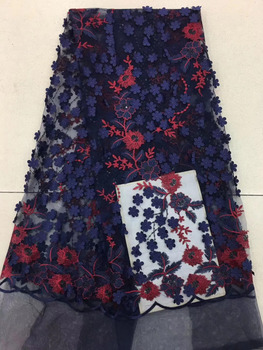 3D Lace Fabric With Flowers, Bridal Lace Fabric, French Lace Fabric For Haute Couture Dress, Mesh Lace Fabric With 3D Flowers