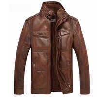 ee9c5b701fc6 Кожаная куртка Для мужчин пальто 4XL бренд Высокое качество PU верхняя  одежда Для мужчин Бизнес зима