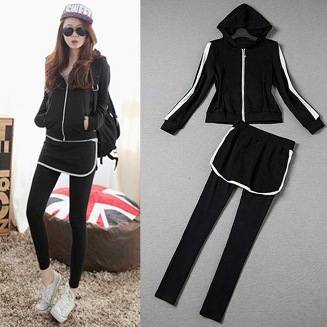 European station women sets fashion casual long sleeve hooded + Slim pants 2 pieces suit women clothing set
