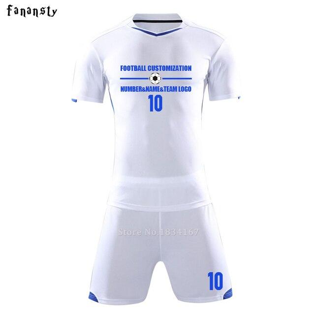 Homens camisas de futebol personalizado uniformes de futebol juventude adulto  conjuntos de treinamento de futebol DIY 3d7832adc0da6