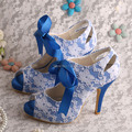 Custom Handmade Mary Janes High Heel Shoes for Women Wedding Party Blue Satin White Lace