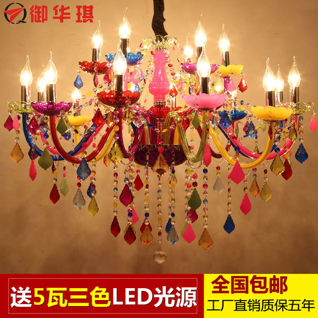 colorful chandelier lighting pink acrylic longree holiday party decor colorful glass table candle chandelier crystal flat light chandeliers ceiling