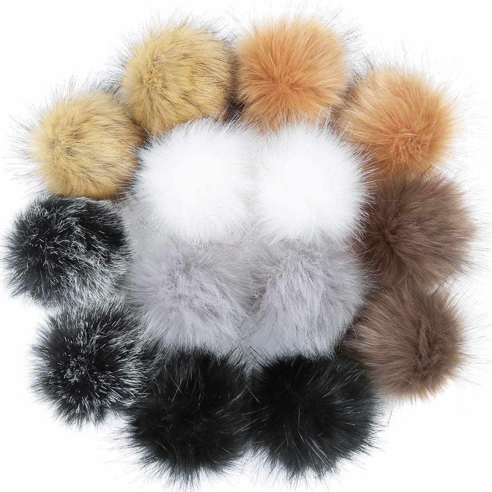 14 pçs diy pele do falso fofo pompom bola para chapéus sapatos cachecóis chaveiros saco encantos belas bolas de cabelo artificial s006