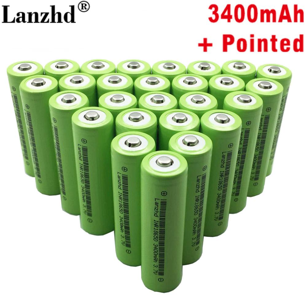 8-<font><b>40pcs</b></font> New <font><b>18650</b></font> Battery with Pointed <font><b>18650</b></font> li ion 3.7v 3400mah 30A Lithium Rechargeable Battery INR18650B For flashlight image