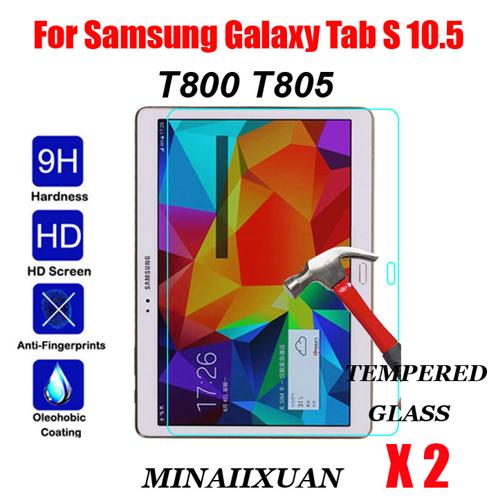 2Pcs 9H Tempered Glass For Samsung Galaxy Tab S 10.5 T800 T805 SM-T800 SM-T805 10.5 inch Tablet Screen Protector Protective Film tempered glass for samsung galaxy tab s 10 5 t800 tempered glass for samsung tab s t805 screen protector tablet protective film