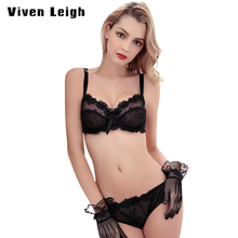 Lingerie plus size Ultra-thin Bra Brief Sets Push up Bra and Panties Female Underwear bra Set Transparent Women's Sexy bra