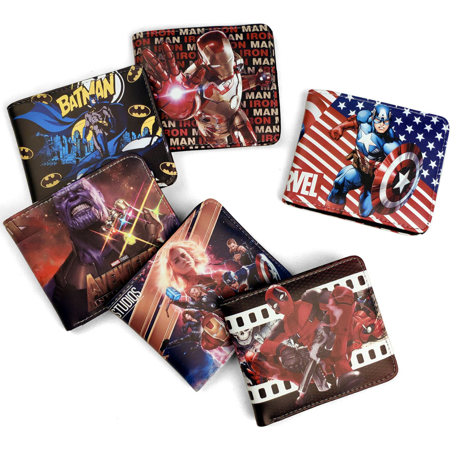 Bifold Wallet Id-Holders Coin-Pocket Gents-Card Thanos Captain Marvel Boys Mens Cartoon