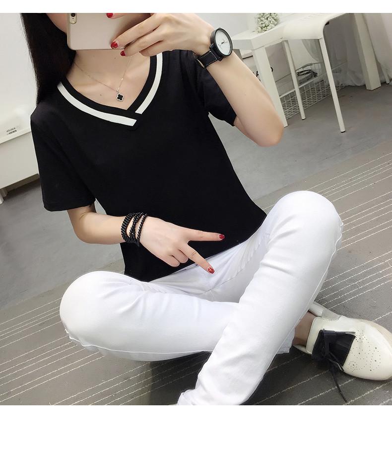 4XL 5XL Plus Size Korean Women's Clothing Fashion Big Size T-shirt Female V neck Short Sleeve Casual obesity Tee Shirt Top Femme 47
