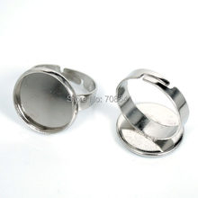 16mm Glass Cameo Cabochons Rings Findings Round Bezel Disc Adjustable Ring Settings Rhodium tone Plated(China)