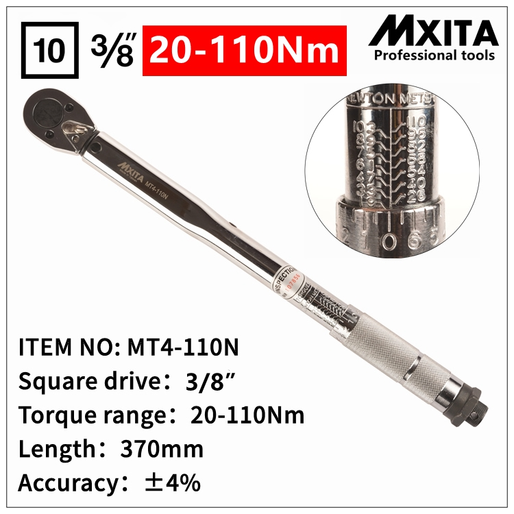 MXITA 3 8 Drive 20 110NM Torque Wrench Tools Case Foot Pound Drive Click Adjustable Hand