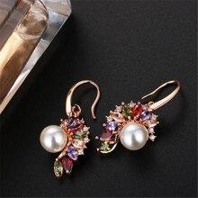 цена на 1 pair Tready Rhinestone Stud Earrings Environmentally Friendly Copper Pearl AAA Zircon Earrings For Women Jewelry Dropshipping
