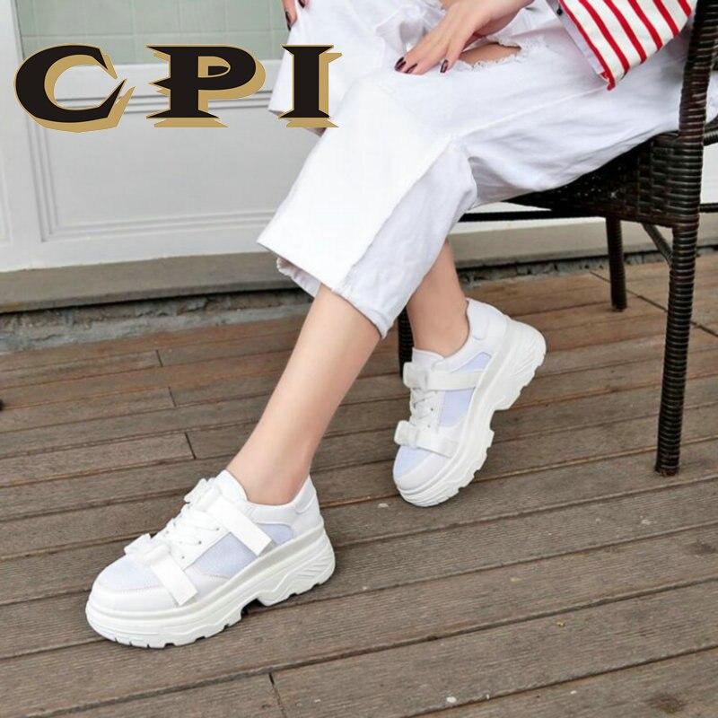 Haute Cuir Femmes Épaisse De Sneakers Cpi forme Plate Dy Formateurs Printemps Mode Marque blanc Noir En Hauteur Dame Chaussures Croissante Semelle 72 xfXOOpq