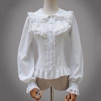 Black Lolita Victorian Short Sleeve Chiffon Blouse Women Shirts Lace Blouses And Shirt Gothic Clothing Blusas