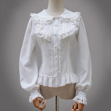 Lace Up Victorian Lolita Gothic White Blouse Women Long Sleeve Chiffon Sexy Shirt Female Blouses 2017 Used In Matching Corset