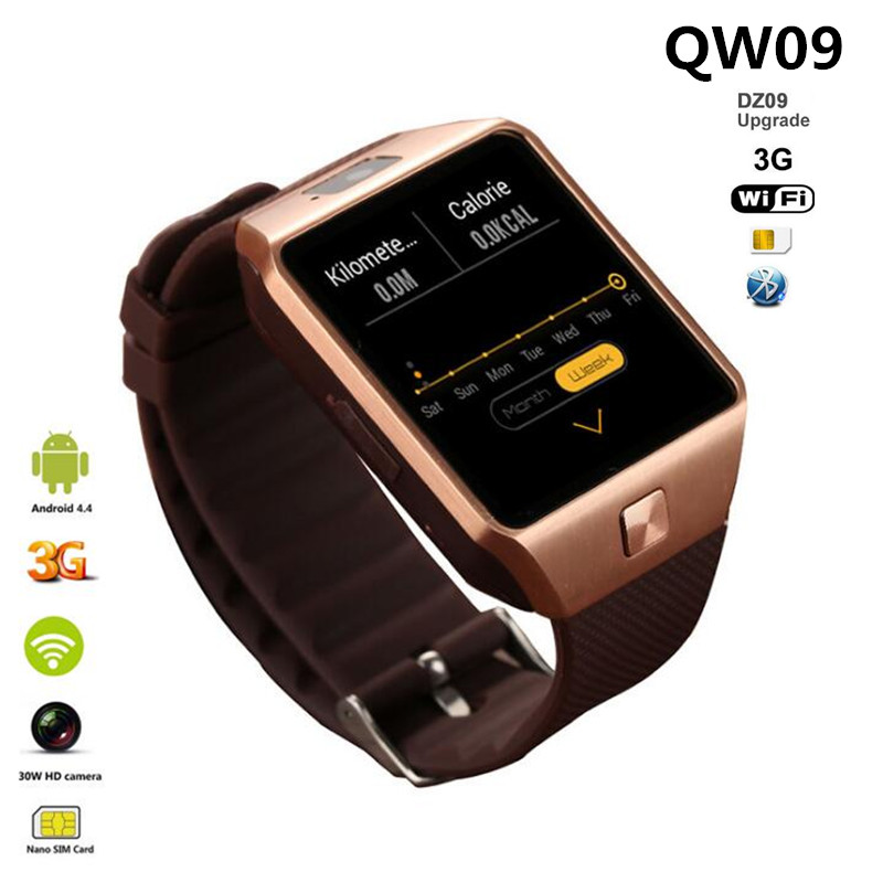 3G WiFi QW09 Android Smart Watch DZ09 Plus With Sim Card camera video recording support Play Store Download APP MP3 Smart Clock image