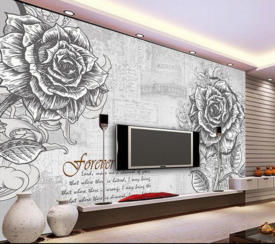 Fototapete wohnzimmer lila  Preis auf Rose Mural Vergleichen - Online Shopping / Buy Low Price ...