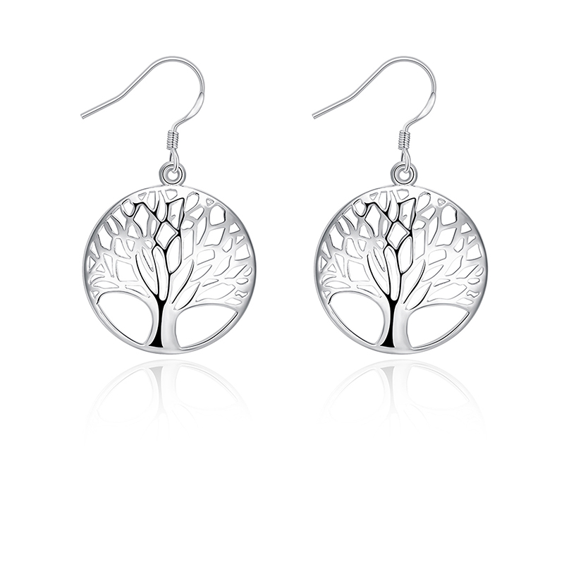 SUKI 2019 Popular Tree of Life Round Pendant Earrings White Gold Bijoux Collier Elegant Womens Jewelry Gift