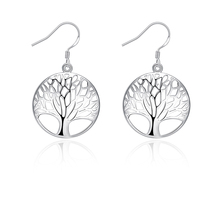 SUKI 2019 Popular Tree of Life Round Pendant Earrings White Gold Bijoux Collier Elegant Womens Jewelry Gift