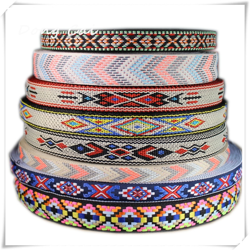 10yards / lot National jacquard webbing High-end tasker dekorative bælte Sommer sandaler vævet bælte Bred-brimmed strå hat DIY