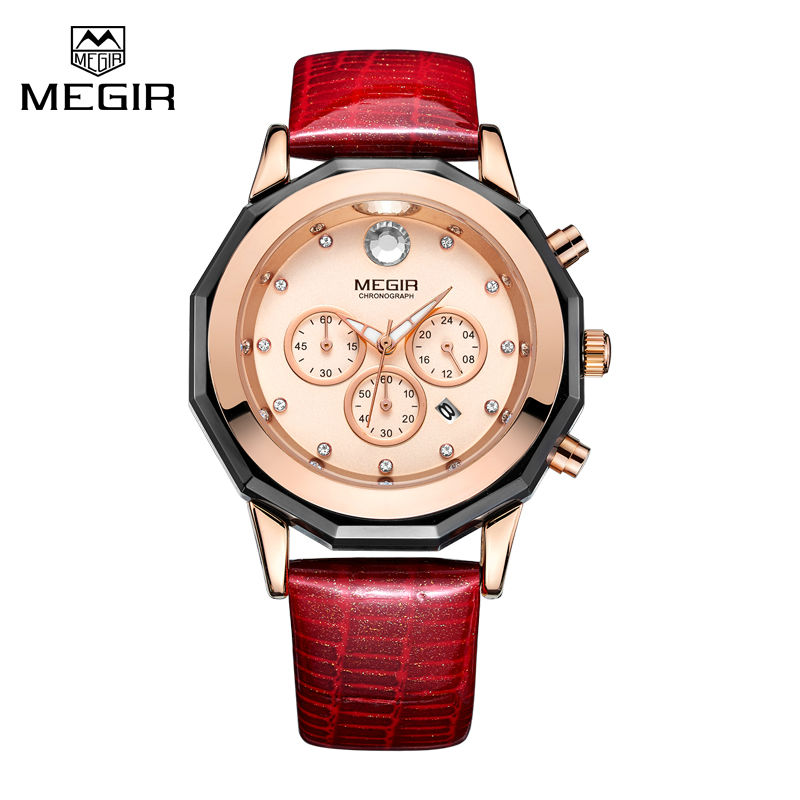 Megir Function 2017 Fashion Women Watches Brand Famous Quartz Watch Female Clock Lady Wrist Watch Montre Femme Relogio Feminino black full rhinestone men flat shoes chaussure homme mens iron pointed toe genuine leather oxfords mens wedding dress shoe
