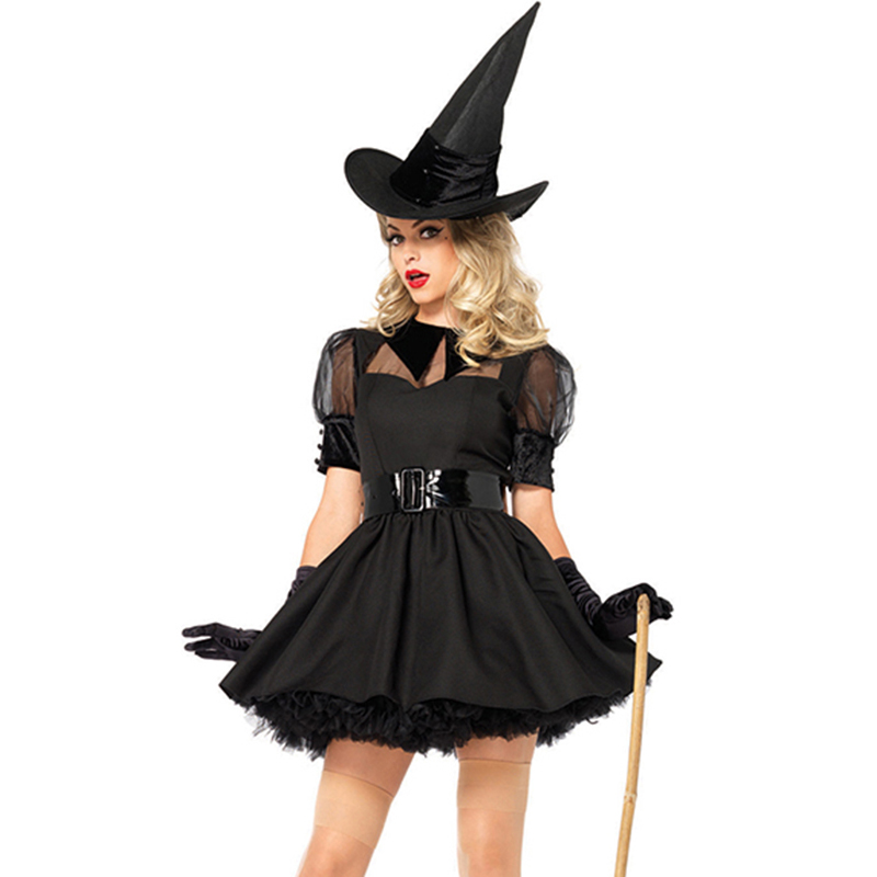 Sexy Woman Carnival Halloween Party Witch Cosplay Costume Hot Night Club Fancy Adult Evil Black Dresses Clothing Sexy Witchcraft