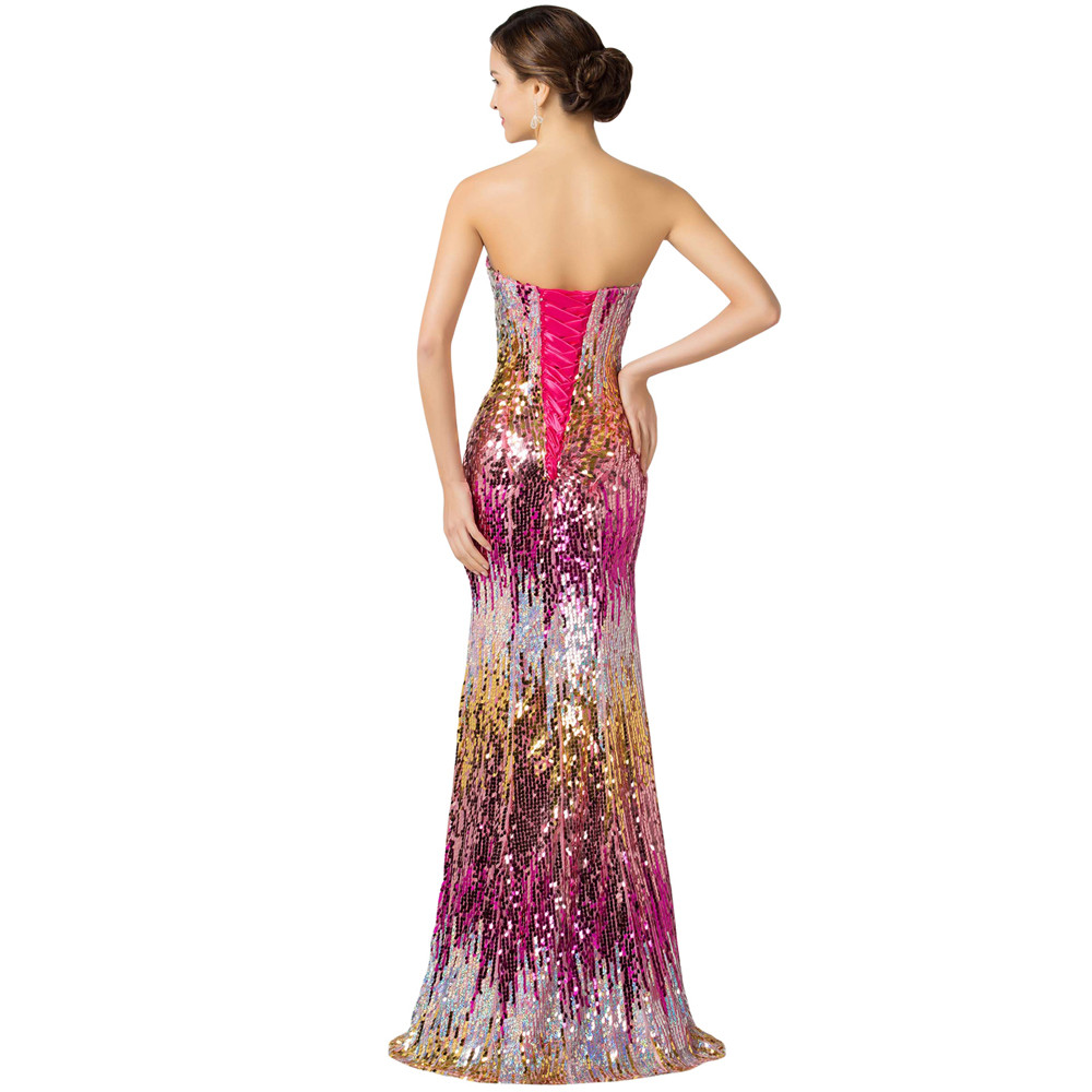 Sweetheart Colorful Sequins Lace Evening Dress 10