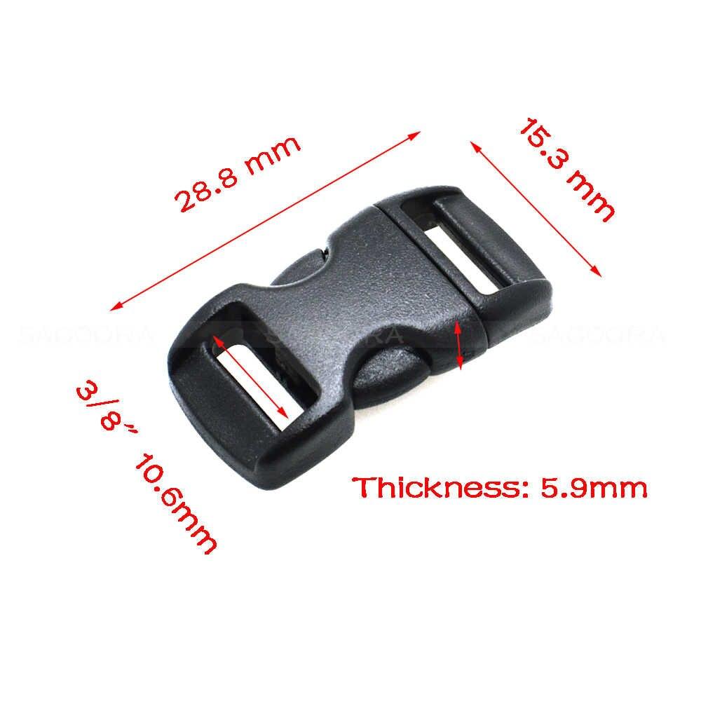 """1 sztuk/paczka 3/8 """"(10mm) profilowane boczne zwolnienie klamry pasa biustonosz akcesoria obroże dla kotów Paracord klipy czarny"""