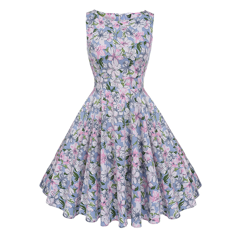 Kostlish Cotton Summer Dress Women 2017 Sleeveless Tunic 50s Vintage Dress Belt Elegant Print Rockabilly Party Dresses Sundress (46)