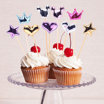 SALE 5 pcs/lot Lovely Heart Star Crown Cake Topper Birthday Cupcake Flag Baby Shower Party Wedding Decoration Supplies image