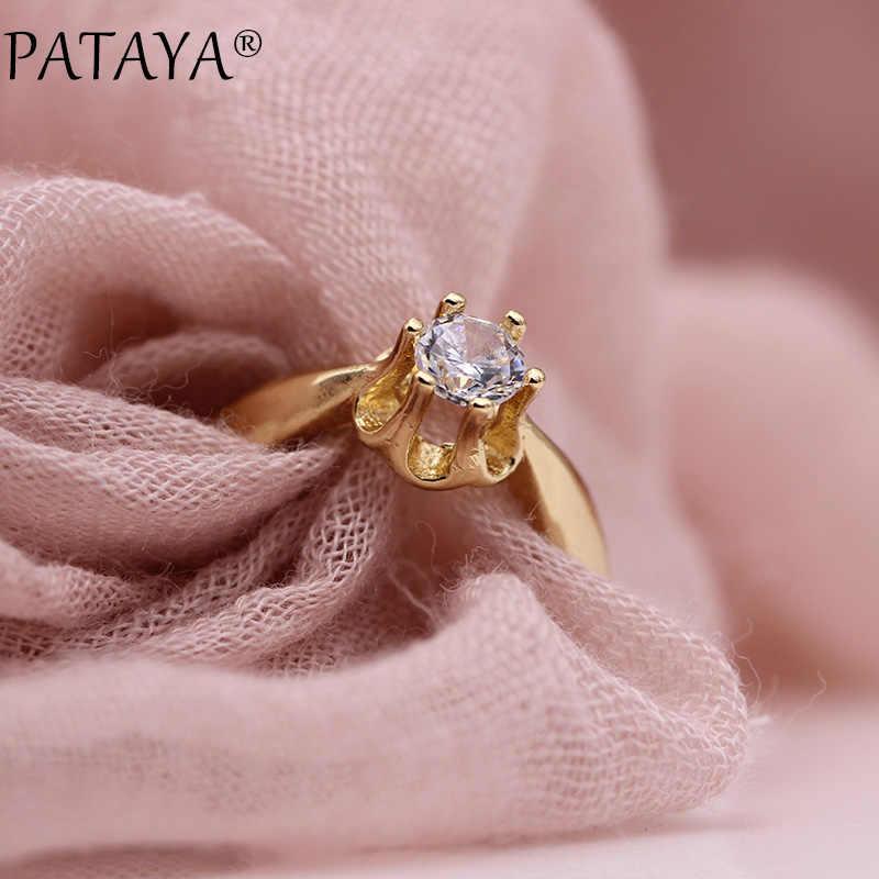 PATAYA nueva moda 585 oro rosa blanco redondo Circonia natural anillos mujeres chicas fiesta Simple Noble joyería Linda pequeña fina anillo