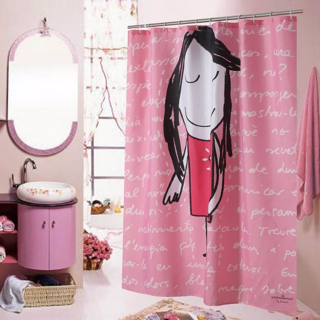 Mildew Free Water Repellent Pink Fabric Shower Curtains Liner Child Kids Girl Bathroom Polyester Waterproof