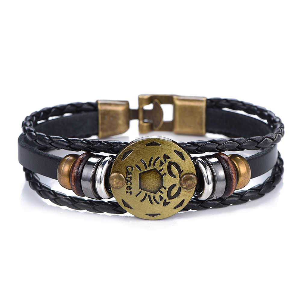 NEW Birthday Gift punk Zodiac Signs Aries Leo Bracelet Constellations charm men bracelets Virgo Pisces Pendant Women DropShiping