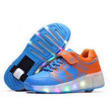 2016 Summer Breathable Child LED shoes Roller Skate sneakers With Wheels Girls Boys Light Kids LED Shoes Pink Blue