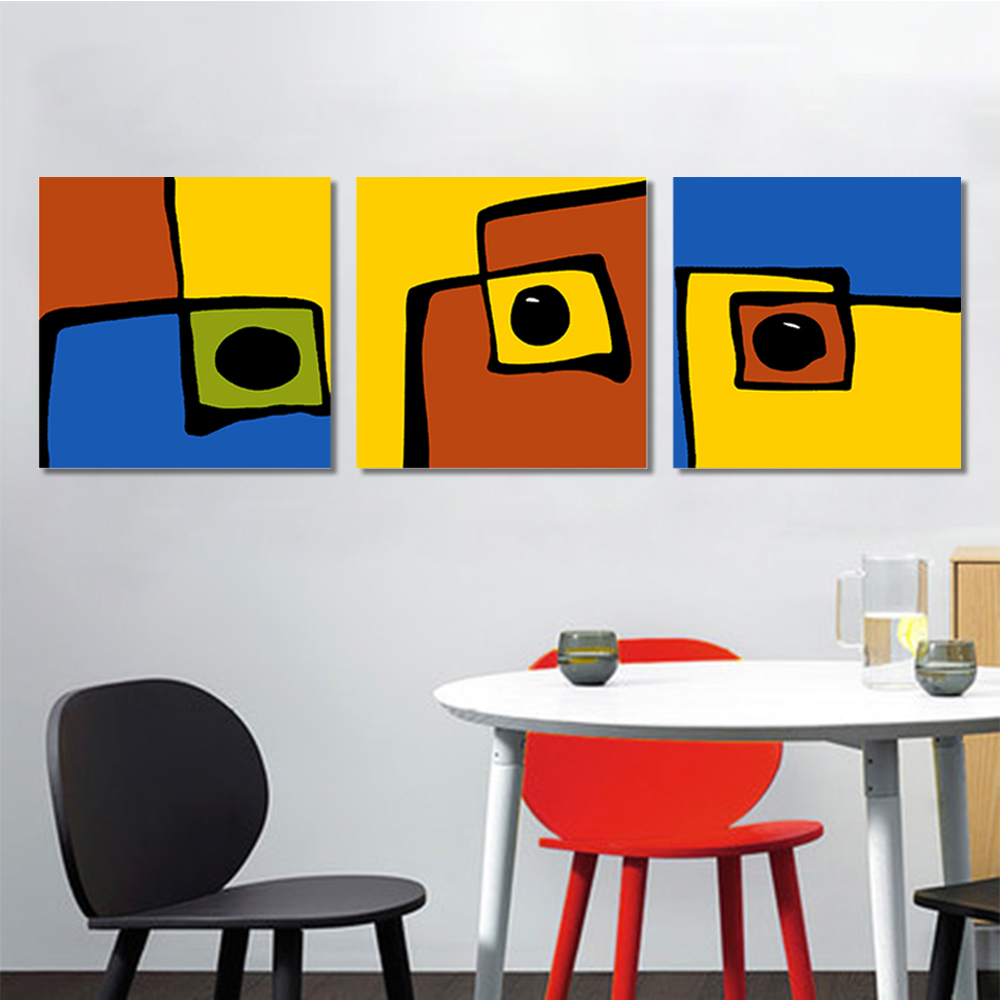 Unframed 3 pairs HD Abstract Canvas Painting Color Fish Wall Art Decor Prints Wall Pictures For Living Room Wall Art Decoration