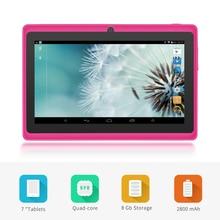Бесплатная доставка 5 цветов yuntab 7 дюймов android-планшет Q88, 1024*600 A33 Quad Core 512 МБ + 8 ГБ двойной Камера, поддерживает WI-FI 3 г внешний