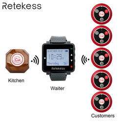 Retekess Wireless Calling System Waiter Call Pager + T128 Watch Receiver + T117 Four-key Transmitter Button Restaurant Pager