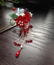 Gekleurde Glazuur Cherry Blossom Tong Po Vintage Classica Haar Stok Haar Sieraden