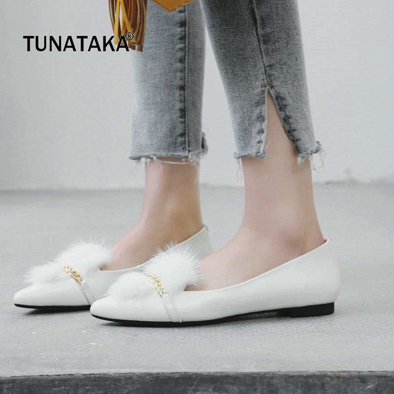 Genuine Leather Comfort Flat With Woman Shoes Fashion Fur Casual Shoes Woman Black Brown White x9055 1 casual genuine leather flats shoes elevate high 6cm for fashion boys match jeans color brown black sz37 43