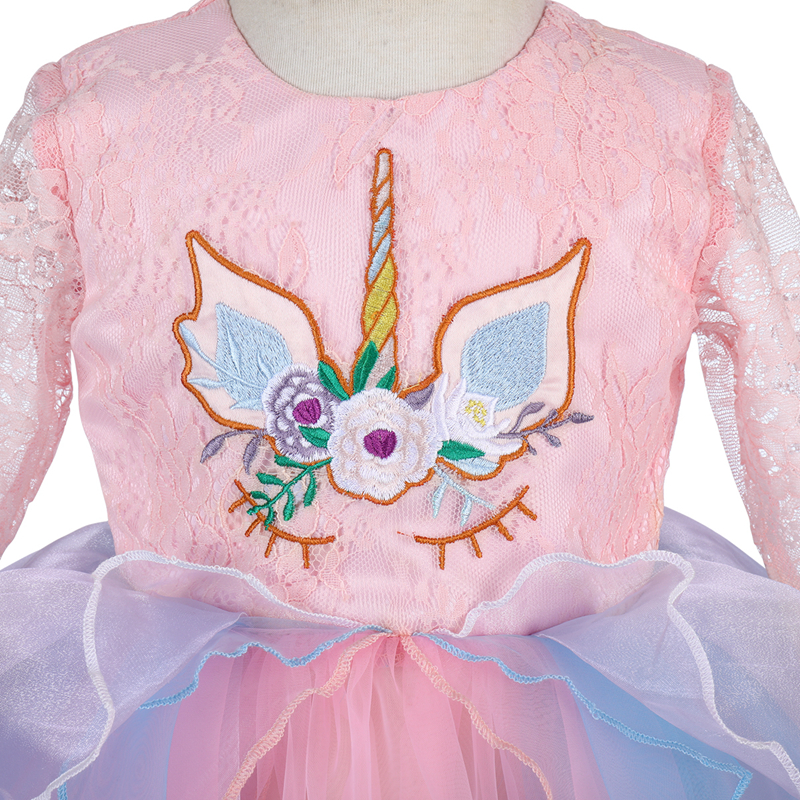 be158cd423a8e 2019 New 2pcs Set Unicorn Flower Baby Girl Dress Headband Girls Birthday  Cake Smash Outfit Cosplay Long Sleeve Cute Baby Clothes
