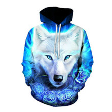 Mens Hoodie Wolf 3D Graphic Full Print Casual Unisex Pullover Hooded Sweatshirts
